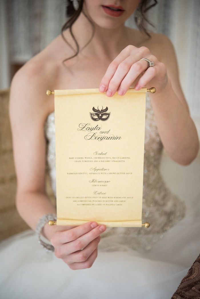 Photo: Elizabeth Nord Photography; Event Design: Vision of Elegance Events; A scrolled wedding menu for a royal wedding! How glam!