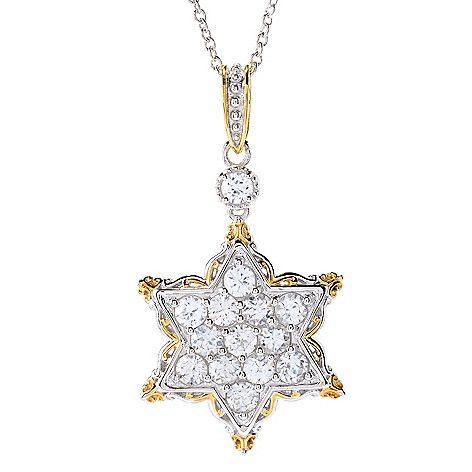 150-871 - Gems en Vogue 5.04ctw White Zircon Star of David Pendant w/ Chain