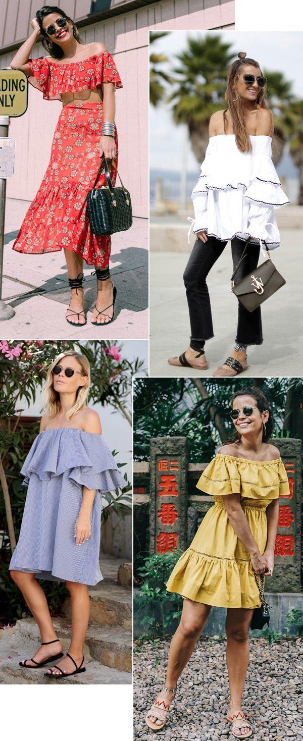 Street style look com blusinhas ciganinha ombro a ombro.