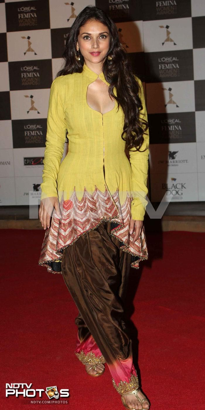 L'Oreal Femina Women Awards: Aditi Rao Hydari looked nice in a patiala suit by Anand Kabra.
