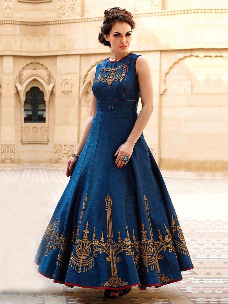 Blue Raw Silk Designer Anarkali Suit  Product Code: G3-WSS20509 Fabric: Raw Silk Color: Blue