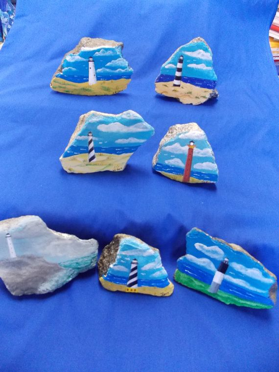Lighthouse Painting on a Rock Original Art by CraftingArtsJourney