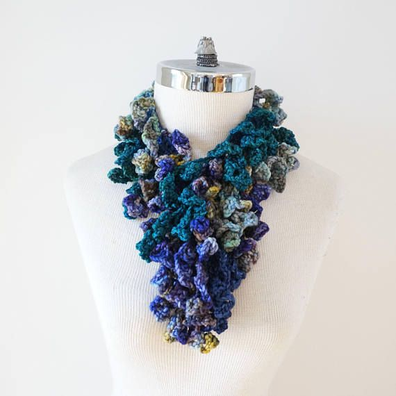 Abstract Lace Scarf, Abstract Scarf in various blues, aqua blue, hint of gold and teal hand painted merino wool, READY to SHIP, scarf