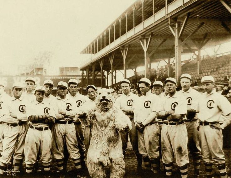 1908 Chicago Cubs with their mascot. Yup last time they won a World Series