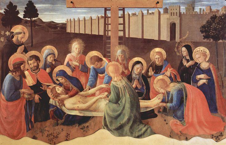 """Fra_Angelico. Оплакивание Мертвого Христа. Беато Анджелико.  1436, темпера на дереве.  Национальный музей Сан-Марко , Флоренция. Здесь изображены некоторые свидетели необычные, такие как Святой Доминик(слева) и  Беата Villana (справа) одетая в черное, с лучами вместо ореола и с фразой, что исходит из уст (""""Христос Jesu L ['] моя любовь распят"""")."""