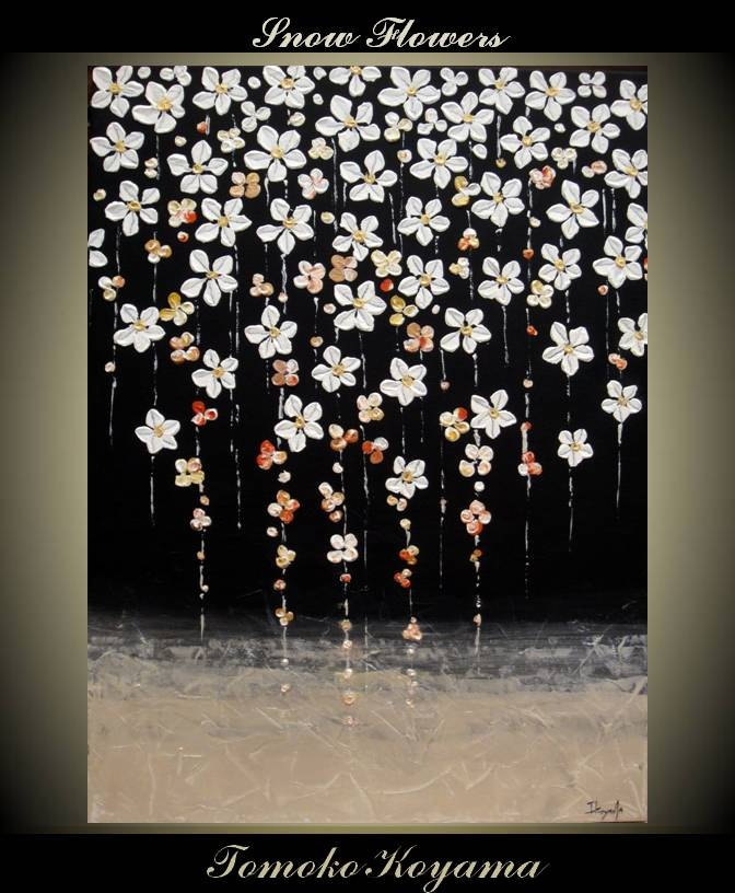 Original Impasto Abstract Painting on Gallery wrapped Canvas 18 x 24 Home Decor, Wall Art --- Snow Flowers---- by Tomoko Koyama