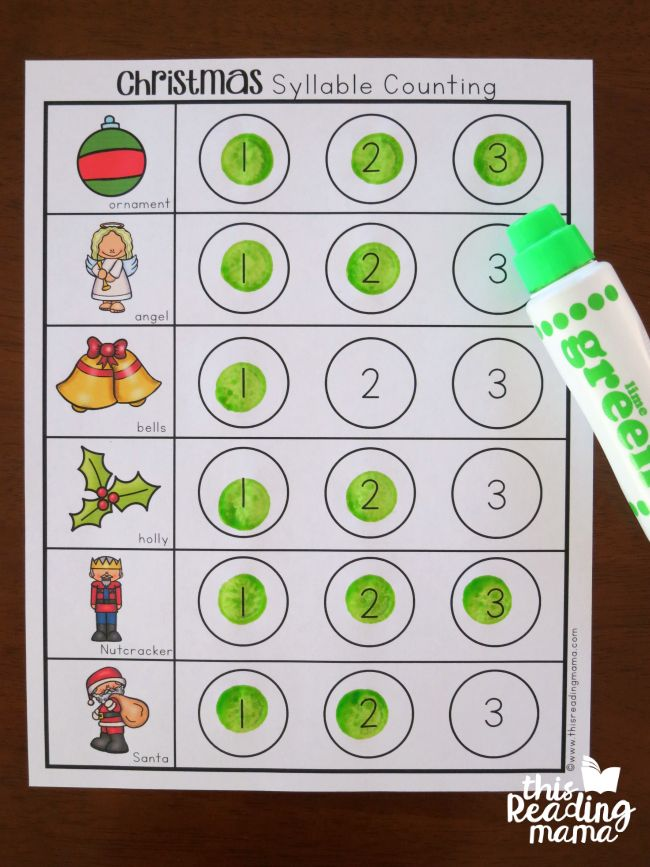Christmas Syllable Counting Dot Pages - FREE - This Reading Mama