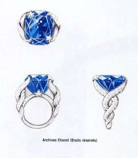 CHANEL, An important cushion cut sapphire set within two twisted snakes and set with brilliant cut diamonds. Sapphire : 58,53cts. By a Gubelin report, stating that the sapphire is of Burmese origin (MYANMAR), with no indications of heating.