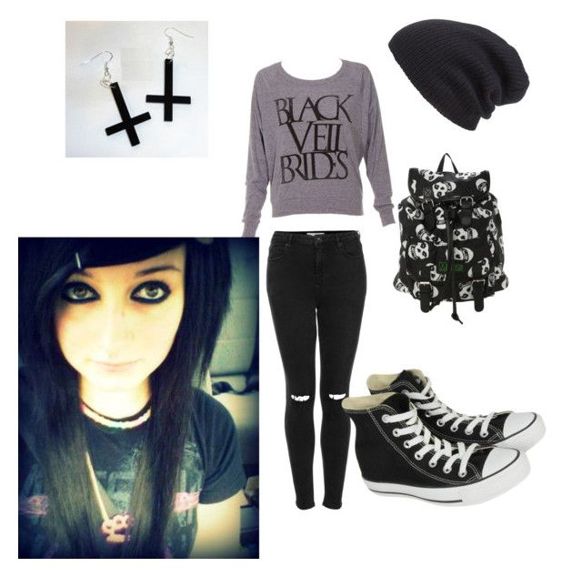 """Emo"" by dope1 ❤ liked on Polyvore featuring Topshop, Converse, Leith, women's clothing, women, female, woman, misses and juniors"