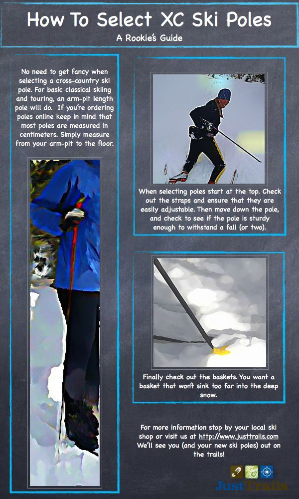 How To Select Ski Poles  http://www.justtrails.com/xc-ski-series/how-to-select-cross-country-ski-poles/