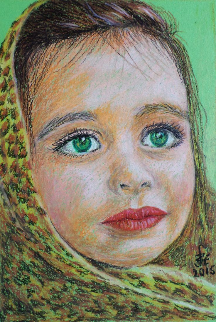 Little girl portrait with oilpastel by Erika Székesvári https://www.facebook.com/ercziart