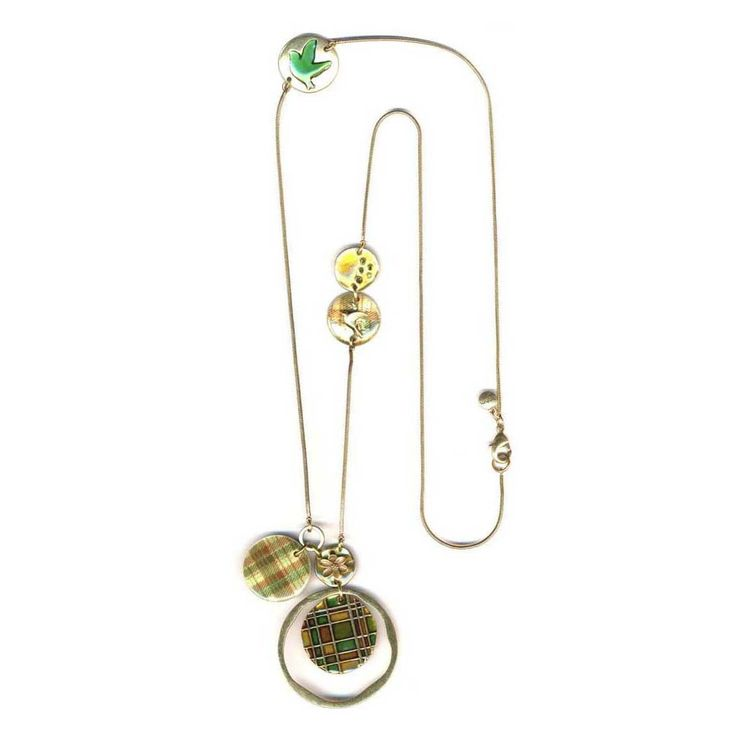 This Pretty Necklacecombines An Array Of Different Mediums Including An Iridescent Mother-Of-Pearl Disc With Plaid Design And Disc Watercolr Enamels, Raised Flower Tree And Bird Motifs