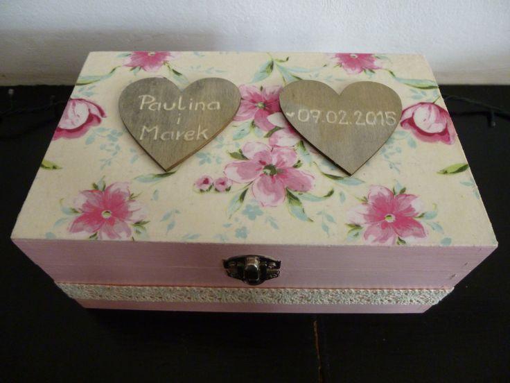 drewniana skrzyneczka ślubna #handmade #decoupage #ślub #box