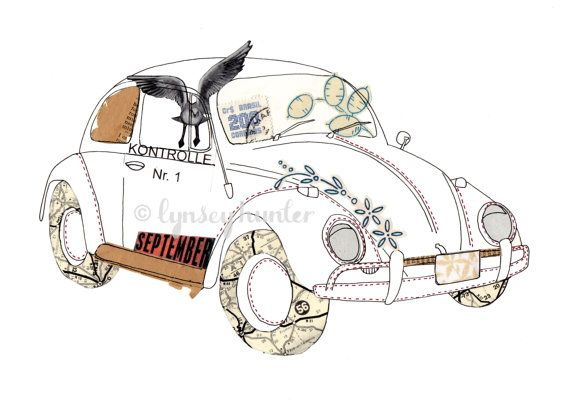 VW Beetle Bug car  Ink & collage illustration by lynseyhunter, $20.00