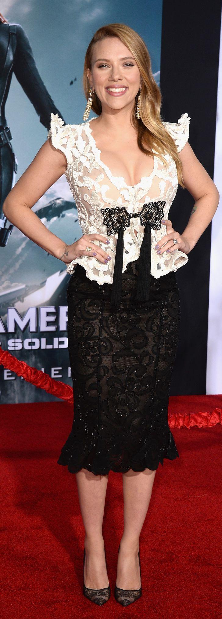 Scarlett Johansson in Giorgio Armani at the Captain America: The Winter Soldier premiere.