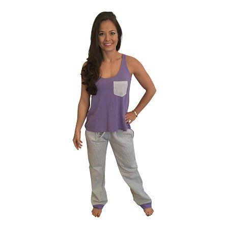 Seersucker Pants with Bow Back Tank Set-Purple with Grey Seersucker Pants