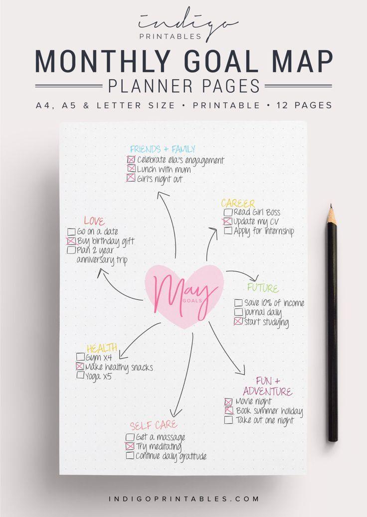 Monatlicher Zielplaner, Zielplaner, Zielverfolgung, druckbar, wöchentlicher Zielplaner, monatlicher Planer, Mind Map, IndigoPrintables, Notizpapier