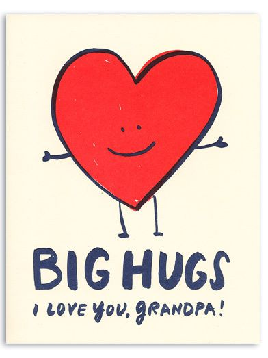 The Curious Pancake - Big Hugs Grandpa Letterpress Greeting Card, £3.50 (https://www.thecuriouspancake.co.uk/big-hugs-grandpa-letterpress-greeting-card/)
