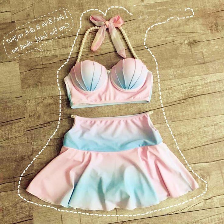 32.36$  Buy now - https://alitems.com/g/1e8d114494b01f4c715516525dc3e8/?i=5&ulp=https%3A%2F%2Fwww.aliexpress.com%2Fitem%2F2016-women-Sweet-Cameo-Shell-Bikini-Pastel-Rainbow-Mermaid-Shell-Swimsuit-Beach-Swimwear-Strappy-Bra-Swimsuit%2F32495981834.html - Pocket Girl 2016 Women Sweet Cameo Shell Bikini Pastel Rainbow Mermaid Shell Swimsuit Beach Swimwear Strappy Bra maillot de bain 32.36$