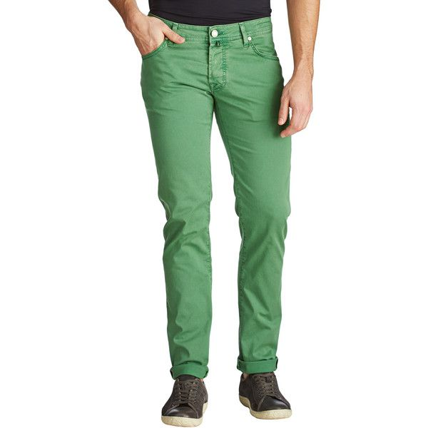 Slim Fit Jeans ($345) ❤ liked on Polyvore featuring men's fashion, men's clothing, men's jeans, mens button fly jeans, mens slim jeans, mens slim fit jeans, mens slim cut jeans and mens green jeans