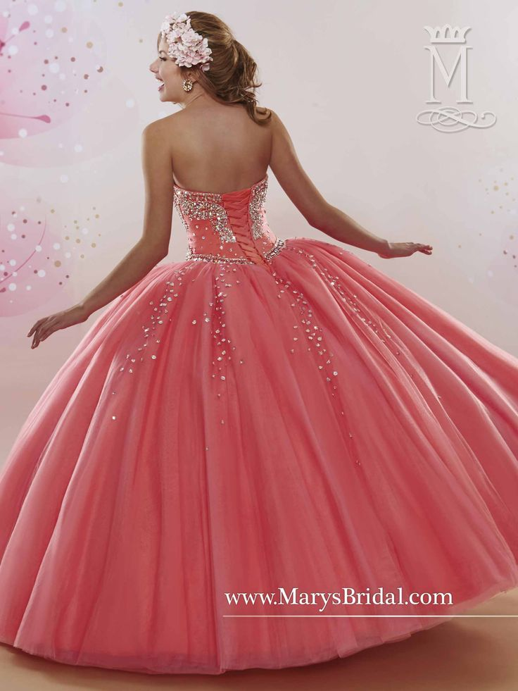 Beautiful coral strapless tulle Quinceanera ball gown with a beaded bodice features sweetheart neckline, beaded motifs, lace-up back, beaded full skirt and a matching bolero. Style 4Q404. #gownoftheday #gotd ‪#‎Sweet15‬ #quinceaños #sweet16 #sweet16dress #xv #xvdress #quince #quincedress #ballgown #mis15 #quinceaneragowns #misxv #sweet16gown #quinceañera #quinceañeradress #quinceshopping #sweet16shopping ​ #coral #detail #fairytale #beading