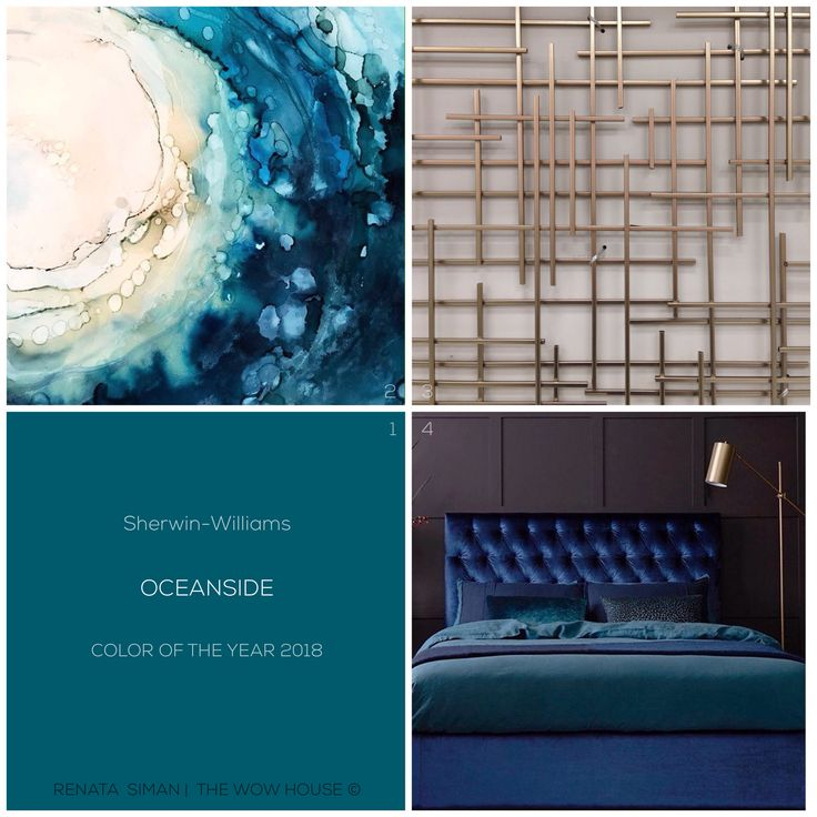 When #indigo pairs with #teal it creates a rich, bluish-green appropriately named #Oceanside.A Sherwin-Williams #ColorOfTheYear 2018. Because how rich it is, it can serve as a #splash of color through art, bedding, accessories sparingly sprinkled throughout the home. Resources on these avail on our IG. RENATA SIMAN | THE WOW HOUSE © #ColorWise #ColorTalk #HomeDecor #BlueVelvet #Bed #Brass #WallArt #Midcentury #Modernism #InteriorStylist #HomeStylist #HomeStager #RenataSiman #TheWowHouse
