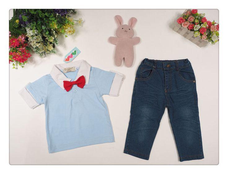El bebé de manga corta camiseta azul con corbata + pantalones cortos de mezclilla de los niños niño ropa de moda para hombre pantalones vaqueros de la ropa twinset en Conjuntos de Ropa de Bebés en AliExpress.com | Alibaba Group