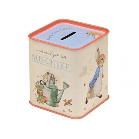 Beatrix Potter's classic Peter Rabbit tin money box. Save all those coin. Perfect little present for any child. Whimsical nostalgia to any décor. Blank Clothing store for gift ideas