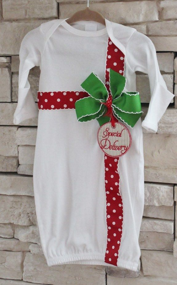 "Newborn Baby Girl Christmas Layette / Gown - ""Special Delivery"" by PumpkinPieClothing on Etsy https://www.etsy.com/listing/158873361/newborn-baby-girl-christmas-layette-gown"