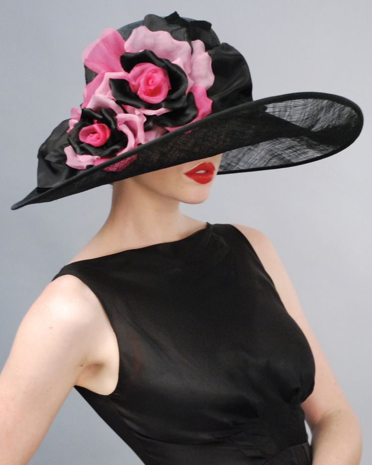 951291NWSP Newport, black with hot pink – Louise Green Millinery