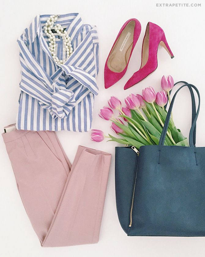 spring work outfit idea // navy striped shirt + tote, pink pants for work