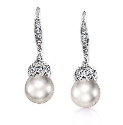 Boucles d'oreilles mariage perle Couronne