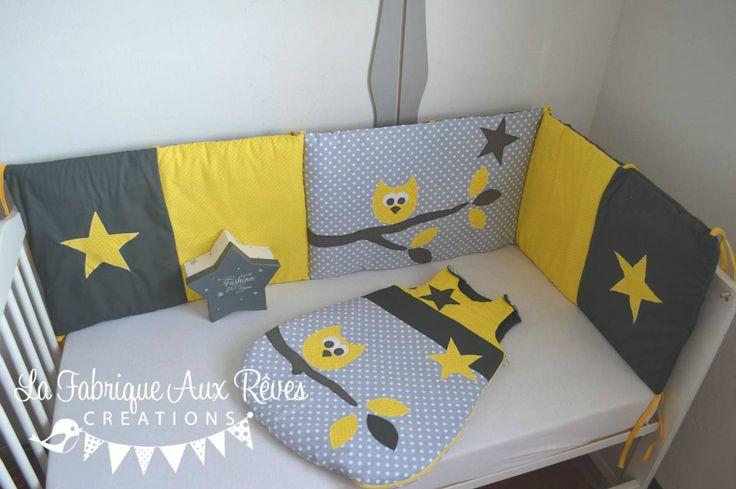 linge lit tour lit gigoteuse turbulette bébé hibou étoiles jaune gris blanc banches feuilles - décoration chambre bébé jaune gris blanc hibou étoiles