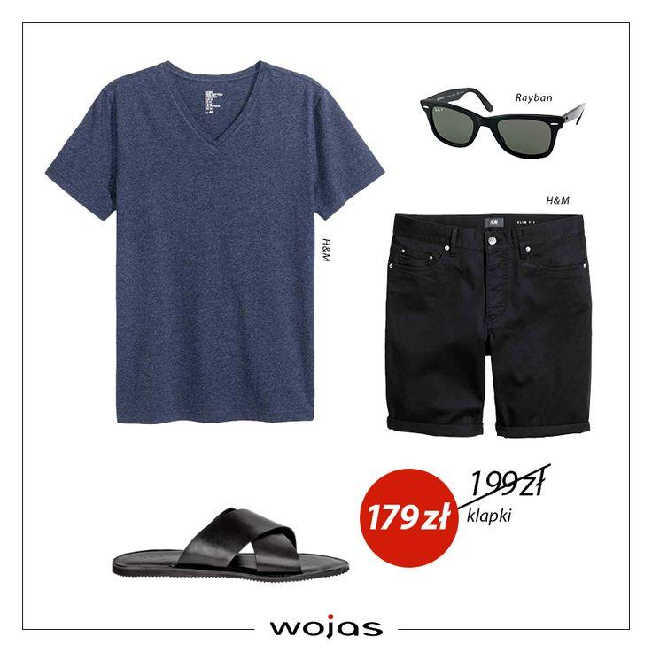 T-shirt w kolorze granatowym idealnie współgra z czarnymi szortami,tworząc spokojną, casualową stylizację. Czarne klapki marki Wojas (https://wojas.pl/produkt/14981/klapki-meskie-4354-51 ) są dopełnieniem całego zestawu