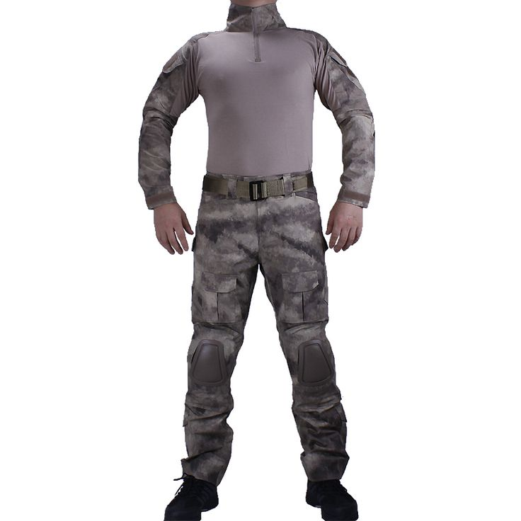 Hunting Camouflage A-TACS Combat uniforms shirt with broek and elbow & knee pads militaire game cosplay uniform ghilliekostuum #Affiliate