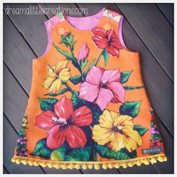 Floral pompom aline pinny dress upcycled by dreamalittleshoppe