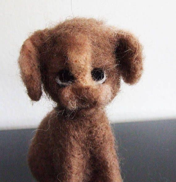 sweet tiny Dog  needle felted miniature small animal beautiful