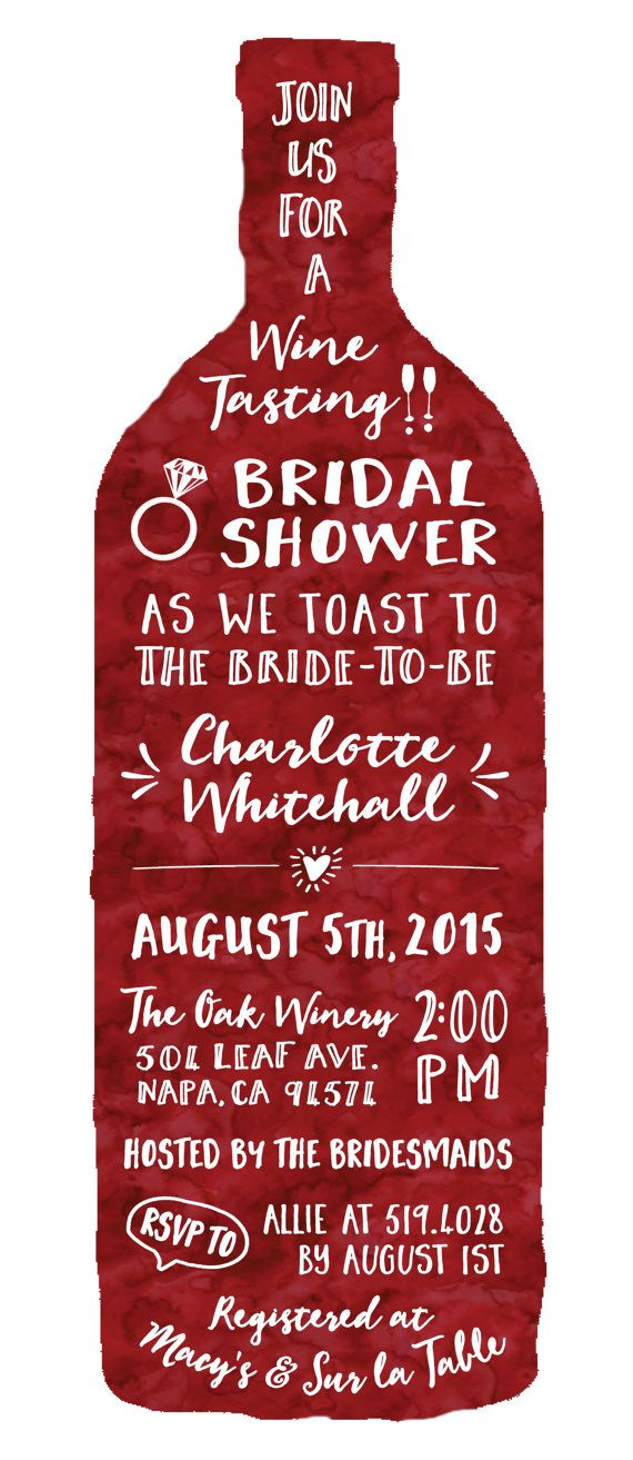 Wine Tasting Theme Bridal Shower Invitations - Free Custom Colors - Price includes Custom Typesetting Design, Printed Invitations on Premium Matte Cardstock and coordinating Vertical Envelopes  - Winery Party Invite - Wine Bottle - Merlot, Rose, Grape, Marsala - Digitally Illustrated Custom Watercolor Graphic Design