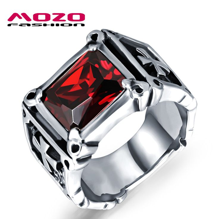 2016 USA Fashion jewelry 316L stainless steel Cubic Zirconia ring pattern Punk Overbearing vintage men Rings cool man MGJ470