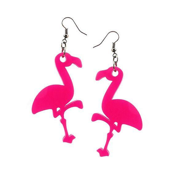 Pink Flamingo earrings handmade laser cut by XOOXOO on Etsy