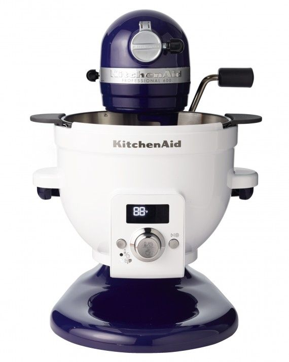 With KitchenAid's new add-on bowl for your stand mixer, melting chocolate and making bread dough are both easier than ever. Featuring a warming range of 70° to 220°, it lso functions as a slow cooker. Precise Heat mixing bowl, $330, kitchenaid.com.