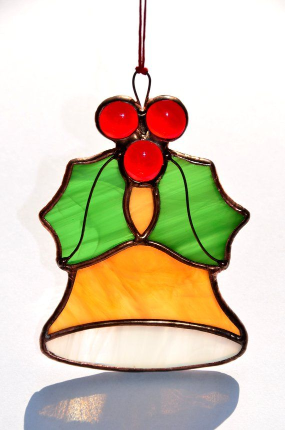 Stained Glass Christmas Bell Stain Glass Ornaments Glass Etsy