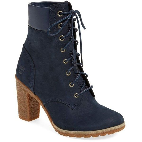 Women's Timberland Earthkeepers 'Glancy 6 Inch' Bootie ($130) ❤ liked on Polyvore featuring shoes, boots, ankle booties, ankle boots, navy nubuck leather, short boots, timberland booties, timberland boots, navy boots and navy blue boots