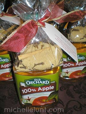 Mulled Cider fill a small cellophane bag with: 1/2 cup brown sugar