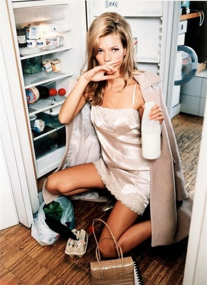 kate moss in silk slip dress editorial