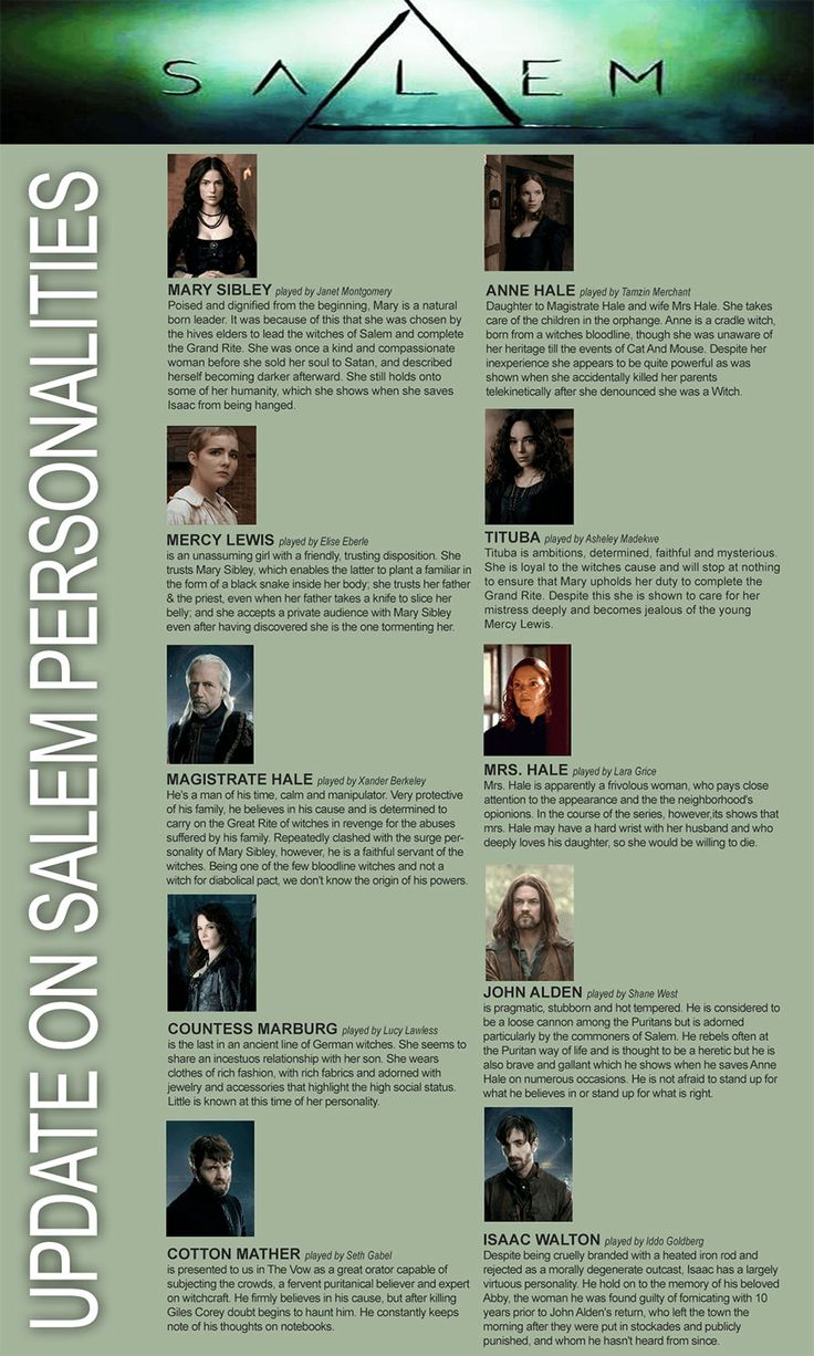 Salem TV Show Cast & Characters Graphic~ One of the BEST shows on tv! ❤️