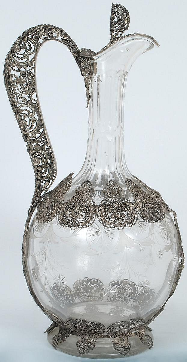 Dutch, Continental silver filigree overlaid glass jug, 19th century