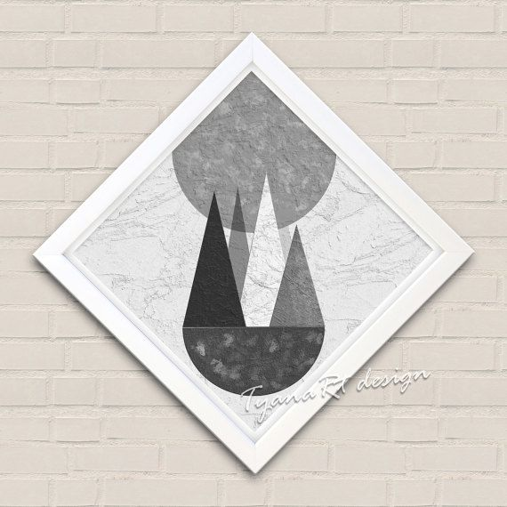 Geometric Print White and black Scandinavian Print by TyanaRt