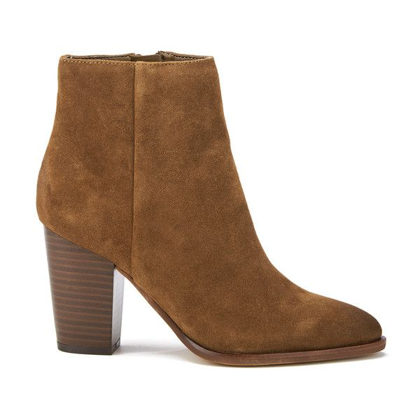 Sam Edelman Women's Blake Suede Heeled Ankle Boots - Woodland Brown ($195) ❤ liked on Polyvore featuring shoes, boots, ankle booties, brown, brown bootie, short brown boots, brown booties, stacked heel boots and ankle boots