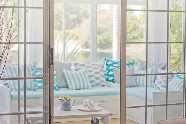 mix of patterns: Spaces, Sunrooms, Blue, Color, Florida House, Sun Porches, Pillows Patterns, Design Schools, Sun Rooms